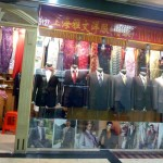 One of the many tailor booths, showing off their gorgeous dresses and suits.