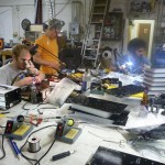 At a soldering party at the Sector67 hackerspace. The Pit of Despair enjoys company.